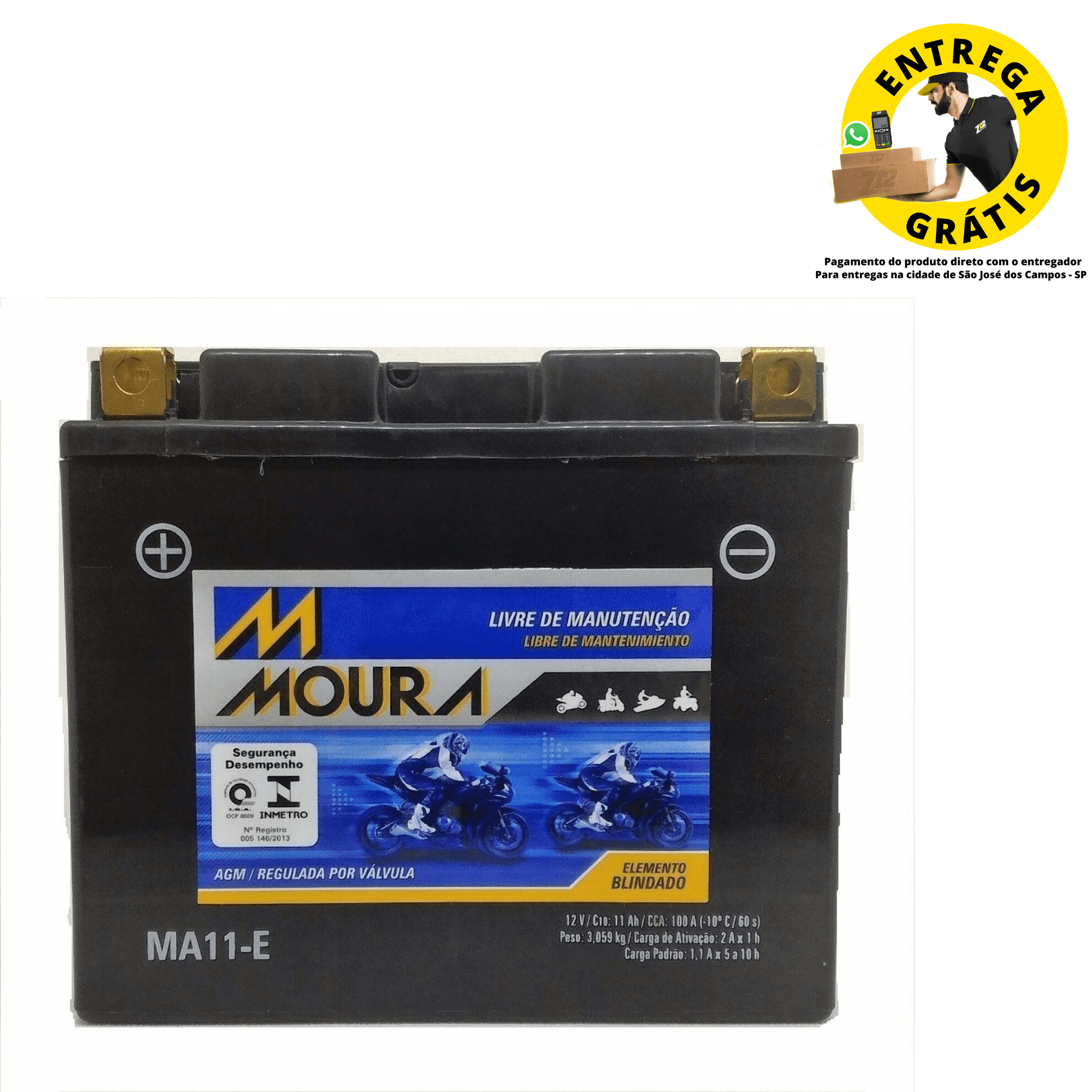 Bateria Moto Moura MA11-E - Ducati / XJ6 / Drag Star